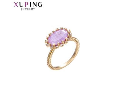 Кольцо Xuping с сиреневым фианитом позолота 18К 10000347