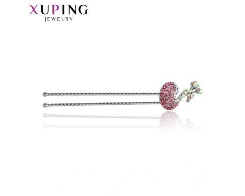 Заколка Xuping с розовыми фианитами родиум 10001010