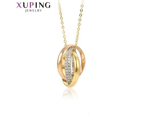 Цепочка и подвеска Xuping с белыми фианитами родиум и позолота 10002528