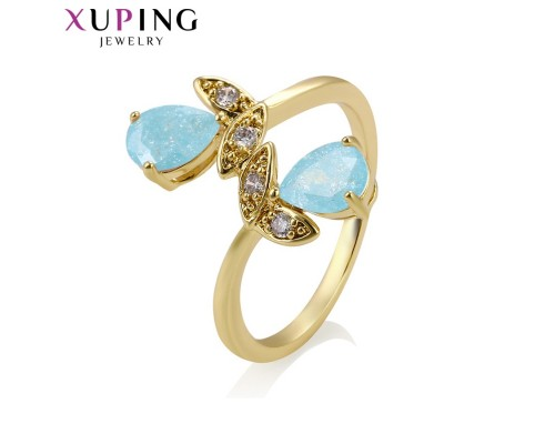 Милое кольцо с фианитами, позолота 14К (10003640)