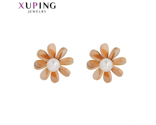 Милые серьги с жемчугом, розовая позолота (10003714)