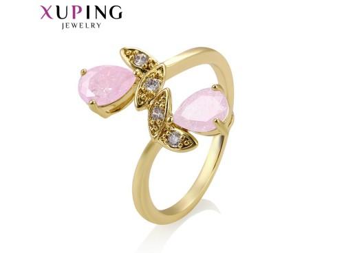Милое кольцо с фианитами, позолота 14К (10004097)