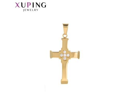 Стильный крестик с фианитами, позолота 24К (10004483)
