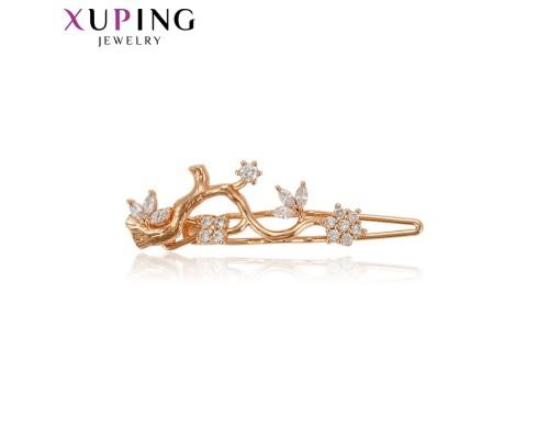Заколка Xuping с белыми фианитами позолота 18К 10005133