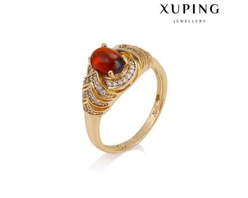 Стильное кольцо с фианитами, позолота 18К (10005157)