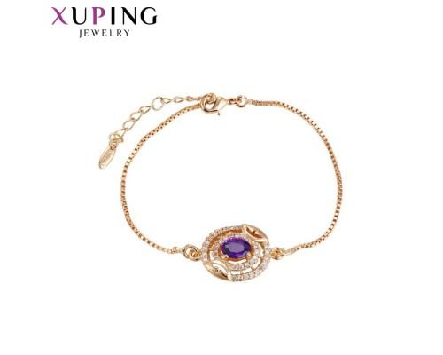 Браслет Xuping с фиолетовыми фианитами позолота 18К 10005297