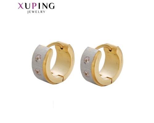 Серьги Xuping с белыми фианитами родиум и позолота ST 10005419