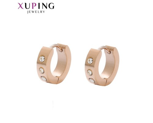 Модные серьги с фианитами, розовая позолота (10005550)