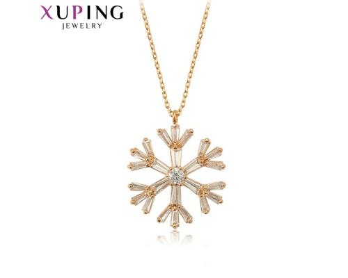 Цепочка и подвеска Xuping с белыми фианитами розовая позолота 10005878