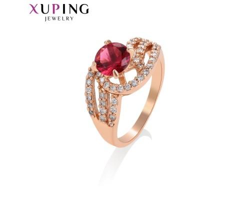 Кольцо Xuping с гранатовым фианитом розовая позолота 10006008