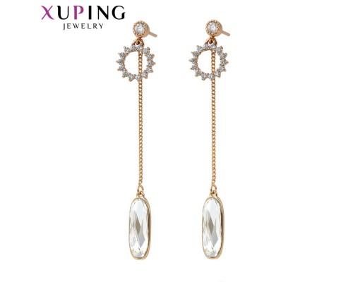 Серьги Xuping с белыми кристаллами Swarovski позолота 18К 10006096