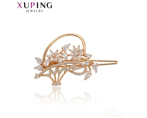 Заколка Xuping c белыми фианитами позолота 18К 10006638