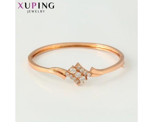 Стильная браслет с фианитами, розовая позолота (10006889)