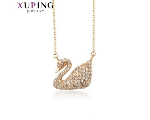 Цепочка и подвеска Xuping с белыми фианитами розовая позолота 10007221
