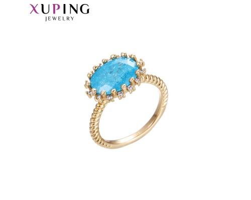 Кольцо Xuping с фианитом аквамарин позолота 18К 10007252