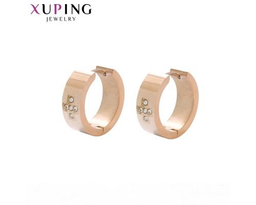 Симпатичные серьги с фианитами, розовая позолота (10007833)