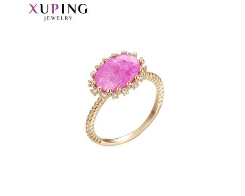 Кольцо Xuping с розовым фианитом позолота 18К 10007909