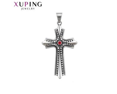 Крестик Xuping с красным фианитом родиум 10009132