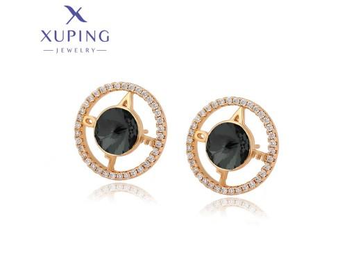 Серьги Xuping с черными кристаллами Swarovski позолота 18К 2236000