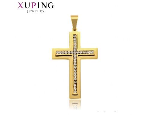 Отличный крестик с фианитами, позолота 24К (2838000)