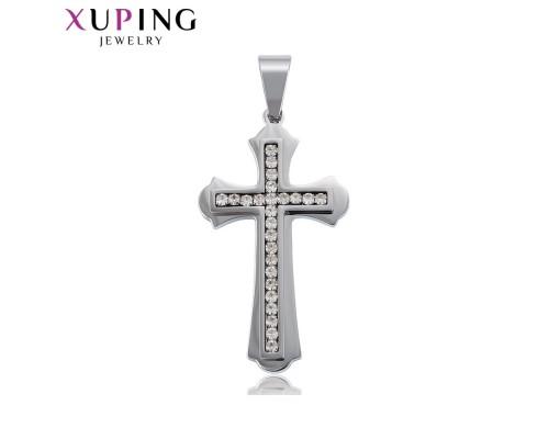 Прекрасный крестик с фианитами, родиум (3037000)