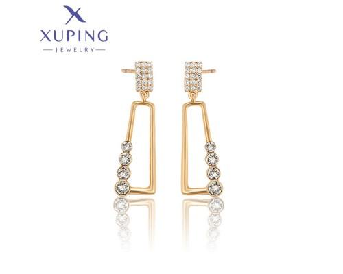 Серьги Xuping с белыми фианитами позолота 18К 3614000