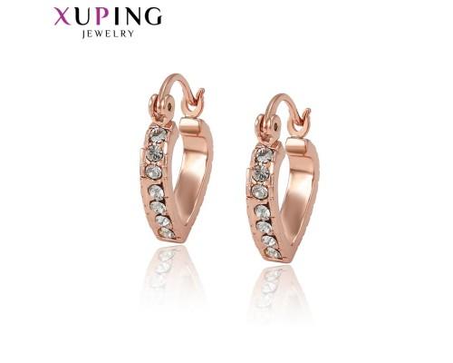 Серьги Xuping с белыми фианитами розовая позолота ST 3894000