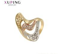 Кольцо Xuping с белыми фианитами родиум и позолота 4026000