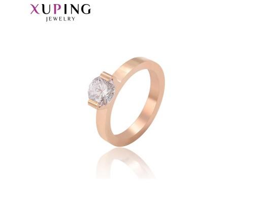Кольцо Xuping с белым фианитом розовая позолота ST 4204000