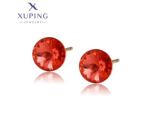 Серьги Xuping с персиковыми кристаллами Swarovski позолота 18К 4303000