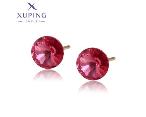 Серьги Xuping с розовыми кристаллами Swarovski позолота 18К 4303000
