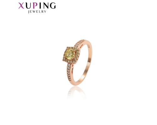 Кольцо Xuping со светло-зеленым фианитом розовая позолота 4336000