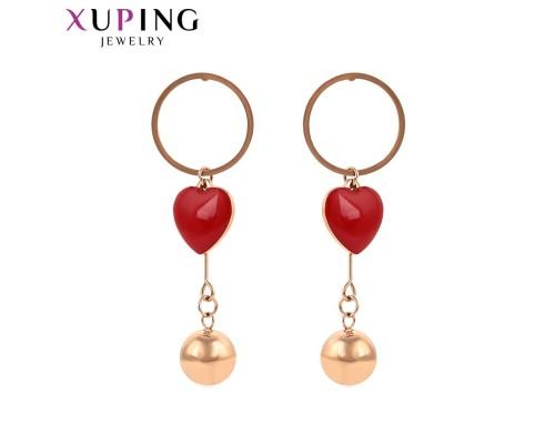 Серьги Xuping с эмалью розовая позолота ST 4471000