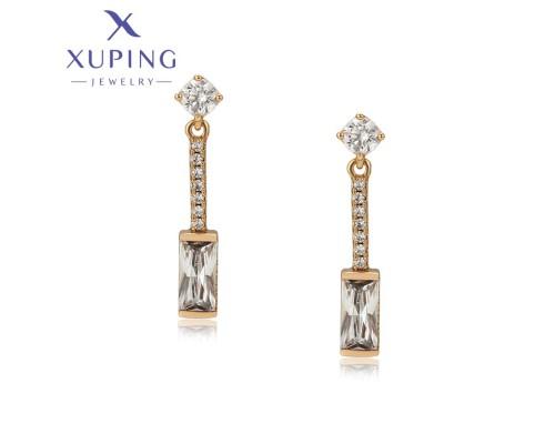 Серьги Xuping с белыми фианитами позолота 18К ST 4498000