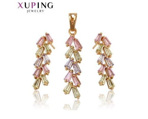 Комплект Xuping с разноцветными фианитами позолота 18К 4521000