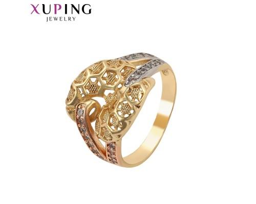 Кольцо Xuping с белыми фианитами родиум и позолота 5101000