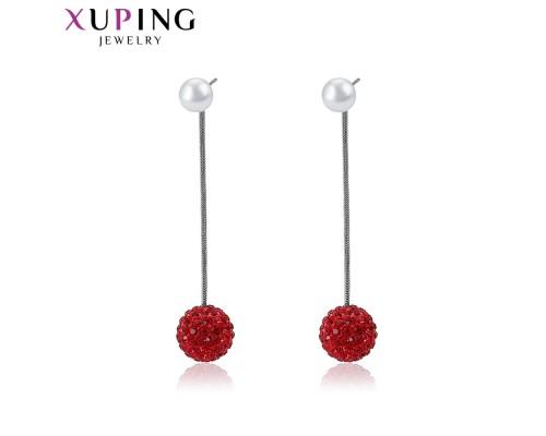 Серьги Xuping с жемчугом и красными  фианитами родиум ST 5196000