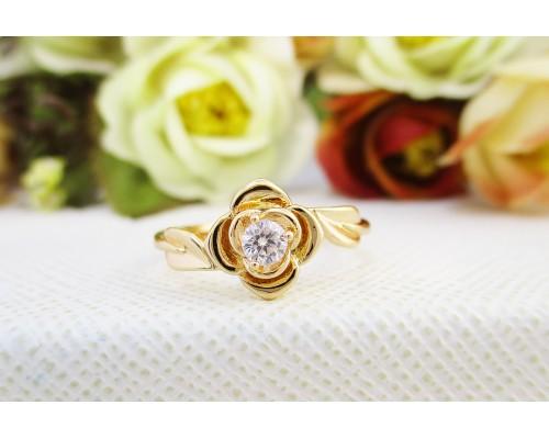 Кольцо Xuping с белым фианитом позолота 18К 5775000