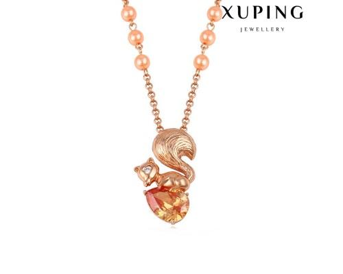 Цепочка и подвеска Xuping с фианитом шампань розовая позолота 5857000