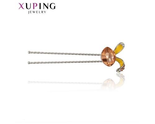 Милая шпилька для волос с фианитами и эмалью, родиум (6245000)