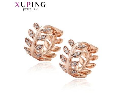 Серьги Xuping с белыми фианитами розовая позолота 6904000