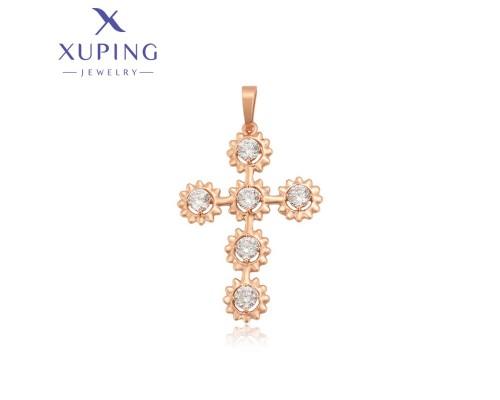 Крестик Xuping с белыми фианитами позолота 18К 7650000