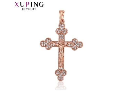 Крестик Xuping с белыми фианитами розовая позолота 7821000