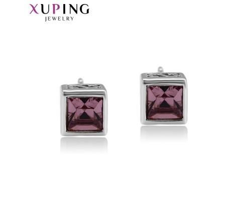 Серьги Xuping с фиолетовыми кристаллами Swarovski родиум 2954000