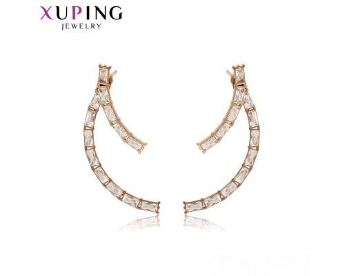 Серьги Xuping с белыми фианитами розовая позолота ST  8030000