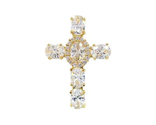 Крестик Xuping с белыми фианитами позолота 18К 8128000