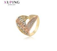 Кольцо Xuping с белыми фианитами родиум и позолота 8249000