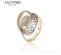 Кольцо Xuping с белыми фианитами родиум и позолота 9108000