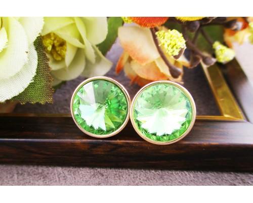 Серьги Xuping с зелеными кристаллами Swarovski позолота 18К 10002287