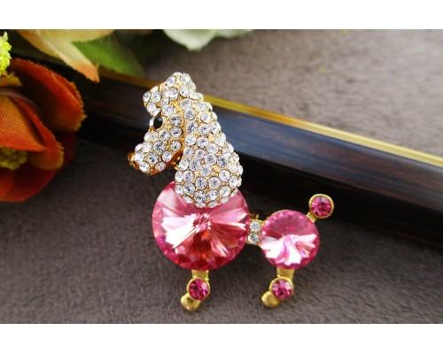 Брошь подвеска Xuping с розовыми кристаллами Swarovski позолота 18К 10005663